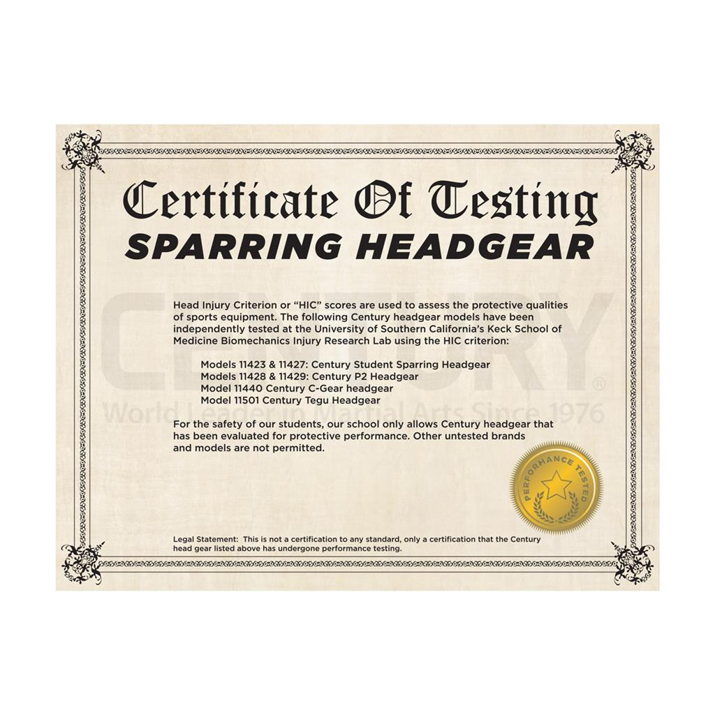 Sparring Headgear Certificate Century Martial Arts